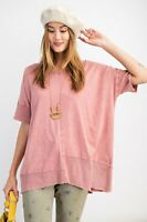 Easel Rose Mineral Washed Short Sleeve Knit Tunic Top Size Small