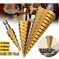 3 PCS HSS Titanium Coated Cone Step Drill Bit Set, Metric 4-12/20/32mm