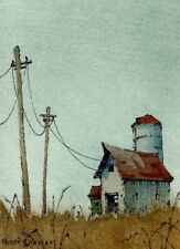 """Dusty Days"" ACEO 2.5""x3.5"" Original Watercolor Peter Sheeler fall house farm"