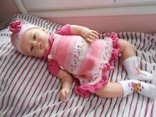 ens robe 2pces fait main pr bébé 3mois ou poupée reborn  baigneur claudinet 55cm