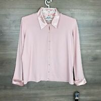 Nygard Collection Women Plus Size 2X Button Up Top Pink Long Sleeve Collar NEW