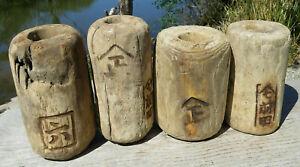 Japanese Fishing Floats WOODEN Lot-4 ANTIQUE Cylinder Kanji-Marked Ancient XLK-E