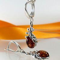 A275 Amber Ohrringe 925 Silber Schmuck baltische Bernstein florale Verzierungen