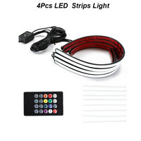 4Pcs LED Waterproof RGB Strips Light Car Under Glow Neon Light Tube System Set