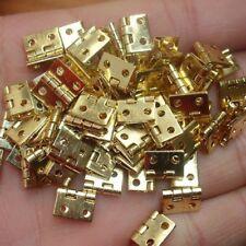 12Pcs Pure Copper Mini Flat Hinge Small Box Folding Butt Hinge 8*10mm 48Pcs Nail