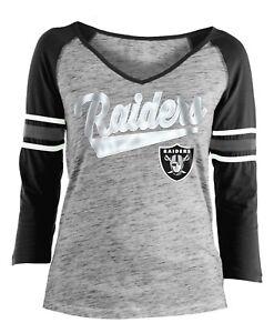 "Oakland Raiders Women's New Era NFL ""End Zone"" Space Dye 3/4 Sleeve Shirt"