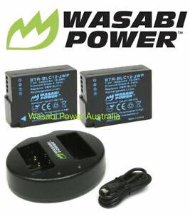 Wasabi Power Battery (2-Pack) and Charger for Panasonic DMW-BLC12,DE-A79,DE-A79B