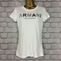 A/X ARMANI EXCHANGE LADIES UK M WHITE FITTED SHORT SLEEVE T-SHIRT TSHIRT TEE