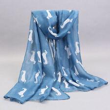 """Dachshund Dog Wrap Shawl Scarf 77x33 """"Dog Print Blue Weimaraner Rescue Charity"""