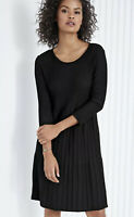 Eileen Fisher Washable Wool Scoop-Neck Dress Small 3/4 Sleeve Fit Flare Black