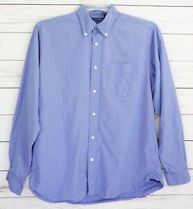 Gap Dress Shirt Men Medium M Blue Solid Button Down Long Sleeve Collared Pocket