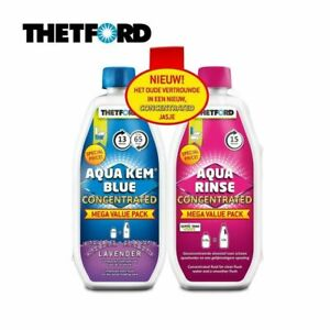 Thetford Toilet Chemicals Duo Aqua Kem Blue & Toilet Fluid Caravan CONCENTRATED