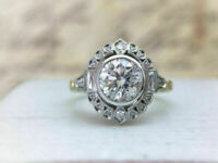 Art Deco 3 Ct Round Cut Diamond Women's Engagement Ring 14K White Gold Over