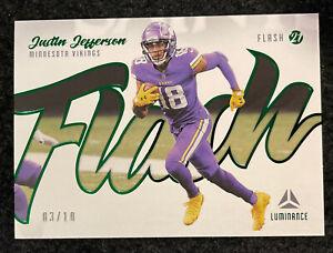 Justin Jefferson 2021 Luminance Flash Green SSP /10 Vikings Nice!