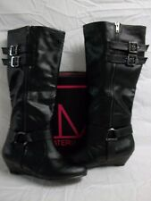 Material Girl Size 8.5 M Pacer Black Knee High Boots New Womens Shoes
