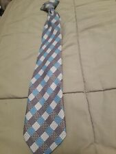 Boys Clip On Tie Blue White Gray Checked