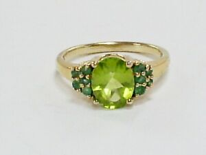 FINE TGGC 925 SILVER GILT FACETED PERIDOT & EMERALD CLUSTER RING/UK 'O' US 7 1/4