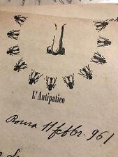 MINO MACCARI lettera manoscritta autografata su carta intestata l'Antipatico