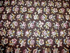 1 Yard Cotton FABRIC Chocolate Brown & Pale Pink Blue Flowers Floral