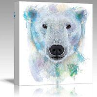 Wall26 - Fun and Colorful Splattered Watercolor Polar Bear - Canvas Art - 12x12