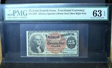 25C FRACTIONAL CURRENCY ✪ PMG 63-EPQ ✪4TH ISSUE FR-1307 BLUE RIGHT END ◢TRUSTED◣