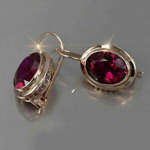 Elegant 925 Silver Ruby Hook Drop Dangle Earrings Cubic Zirconia Wedding Jewelry