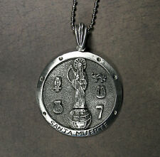"Santa Muerte Medallion Necklace - Holy Death Brujeria Saint Death Large 2"""