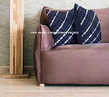 "Indian Tie Dye Shibori Kantha Cotton Handmade 16"" Cushion Cover Boho Indigo Blue"