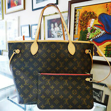 Louis Vuitton Neverfull MM Mon Monogram Tote Bag Purse with Clutch Red Interior