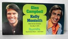 Glen Campbell Harrah's Casino Postcard Kelly Monteith Lake Tahoe 1978 Promotion
