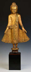 19th Century, Mandalay, Antique Burmese Wooden Standing Buddha
