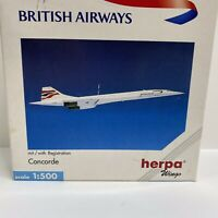 British Airways CONCORDE Collectible Die Cast NIB 1/500 Scale Herpa Wings 507035