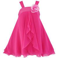 Girls Dress A-line Halter Flower Multi Layer Chiffon Age 4-14 Years