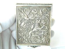 Antique Solid Silver POWDER BOX Compact Elaborate Relief Decoration 1850s