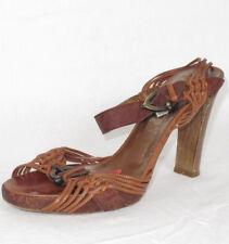 NUOVO VIA SPIGA larky marrone strass cinturino alla caviglia zeppa