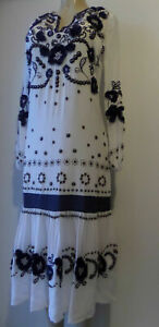 MICHAEL MICHAEL KORS MAXI DRESS S:XS FLORAL EMBROIDERED SILK L.SLEEVE WHITE/BLUE