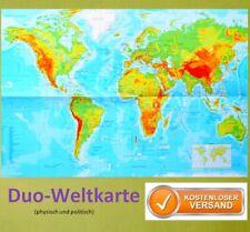 Poster Die Welt Landkarte Staaten der Erde physisch & politisch A2 Plakat Karte