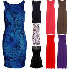 Ladies Wrap Front Gathered Maxi Sleeveless Low Back Party Bodycon Dress