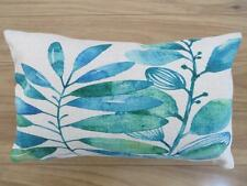 Watercolour Painting Teal & Green Leaves Linen Look Rectangular Cushion Cover