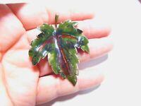 Green Brown Enamel Silver Tone Metal Leaf Brooch Vintage