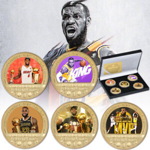 5pcs LeBron James Gold Commemorative Coin US Basketball Star In Gift Box