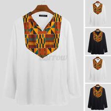 Men's Vintage Dashiki African Floral V Neck T Shirts Long Sleeve Hippies Blouse
