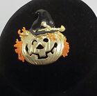 JJ Jonette Jewelry Gold Tone Scarecrow Jack O Lantern Pin Brooch FREE SHIPPING