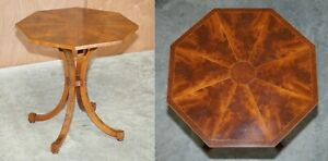 SUBLIME BURR WALNUT & FLAMED MAHOGANY HEXAGON SIDE TABLE WITH CURVED SPADE FEET