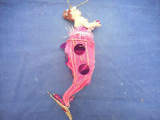 """KATHERINE'S COLLECTION MERMAID ORNAMENT PINK CANDY CADDY 9 1/2"""""""