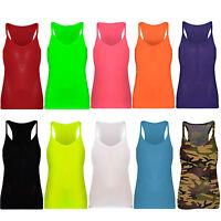 Girls Kids Stretch Plain Vest Top T-Shirt Sleeveless Dance School Age 5-11 Black