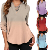 UK Plus Size Women V Neck Tops Ladies Long Sleeve Casual Baggy Autumn T Shirt