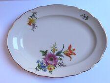 Meissen ovales placa rica flores pintura flor multicolor borde de oro 1. elección Aster