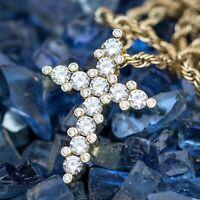 0.70ct Round Cut Diamond 14k Yellow Gold Finish Cross Pendant Necklace