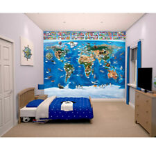 Walltastic Map Of The World Wallpaper Mural 120.08 x 96.07 inch 8ft x 10ft  New